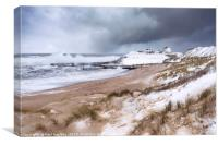 Seaton Sluice Snow, Canvas Print