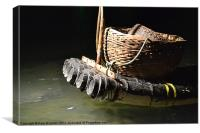 Bamboo raft for Cormorant fishing., Canvas Print