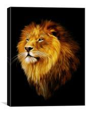 Aslan, lion fractal art, Canvas Print