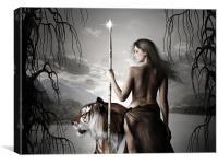 Moon Maiden Warrior, Canvas Print