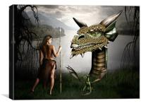 Babysitting Dragons, Canvas Print
