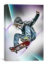 Extreme Skateboarding Jump Closeup, Canvas Print