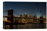 Manhattan with Statue of Liberty, Canvas Print