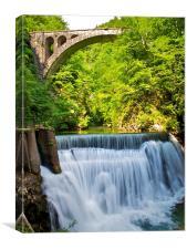 Vintgar Gorge water and bridge, Slovenia, Canvas Print