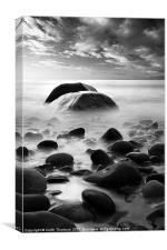 Alnmouth Beach Rocks bw, Canvas Print