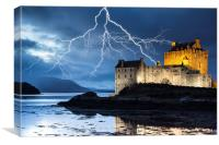 Lightning over Eilean Donan Castle, Canvas Print