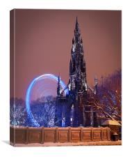 Scott Monument during the winter festival, Canvas Print