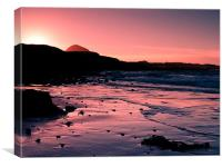 Sunset over Berwick Law, Canvas Print