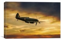 Spitfire  PS915 Sunset, Canvas Print