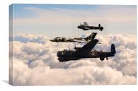 Avro Lancasters and Vulcan , Canvas Print
