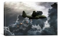 C-130 Popping Flares , Canvas Print