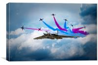 Vulcan Red Arrows Break, Canvas Print