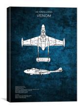 de Havilland Venom, Canvas Print