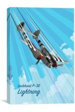P-38 Lightning Pop Art, Canvas Print