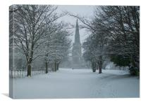 Snowy Church, Canvas Print