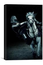 White Knight Jousting on Horseback, Canvas Print