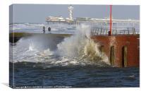 Scheveningen harbor at rough times, Canvas Print