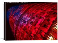 Torre Agbar Barcelona by night, Canvas Print