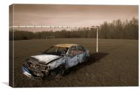 Stolen Car Sepia Effect, Canvas Print