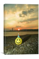 Happy at Sunset in Swansea, Canvas Print
