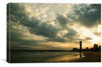 Swansea Beach Sunset, Canvas Print