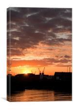 Sunrise Swansea Docks, Canvas Print