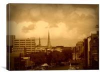 Bristol City - In Sepia., Canvas Print