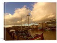Bristol Dockside Midwinter., Canvas Print