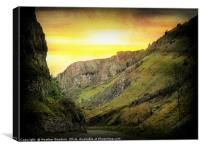 Sunset over Cheddar Gorge., Canvas Print