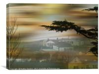 Sandbay Somerset on a Foggy Day., Canvas Print
