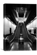 Escalator in Black and White, Canvas Print