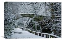 Bridge In Snow, Canvas Print
