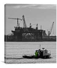 Boat & Cranes, Canvas Print
