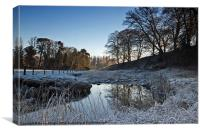 River Wansbeck In Winter, Canvas Print