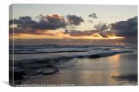 Sunrise at Bamburgh Beach, Canvas Print