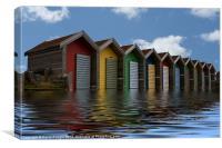 Beach Huts Reflection, Canvas Print