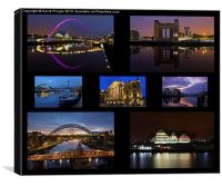 Newcastle and Gateshead at Night, Canvas Print