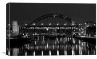Tyne Bridge at Night, Canvas Print