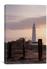 St. Marys Lighthouse After Sunrise, Canvas Print