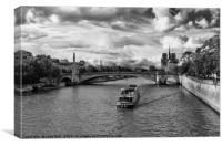 River Boat on the River Seine, Canvas Print