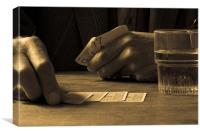 old hand at cards, Canvas Print
