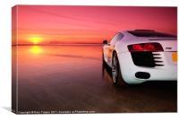 R8 on a beach - side view, Canvas Print