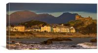 Criccieth castle and hotels, Canvas Print