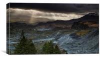 Slate quarry at Blaenau Ffestiniog, Canvas Print