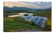 Llyn Dywarchen- wide view, Canvas Print