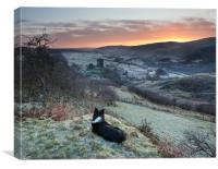 Gelert watching the sunrise, Canvas Print