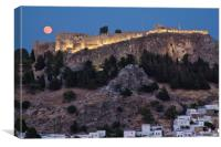 Lindos Full Moon, Canvas Print