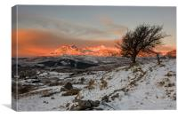 Sunrise over the Moelwyn range, Canvas Print