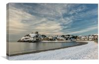 Snow on Criccieth beach, Canvas Print