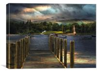 Sunrise over  Windermere., Canvas Print